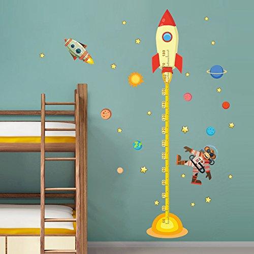 Kinder Messlatte,Weltraum Planeten Monkey Pilot Rakete Home Aufkleber Höhe messen Wall Sticker für Kinder Zimmer Baby Nursery Wachstumsdiagramm