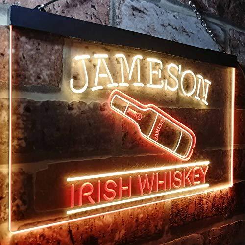 zusme Jameson Irish Whiskey Bar Decoration Novelty LED Neon Sign Red + Yellow W40cm x H30cm