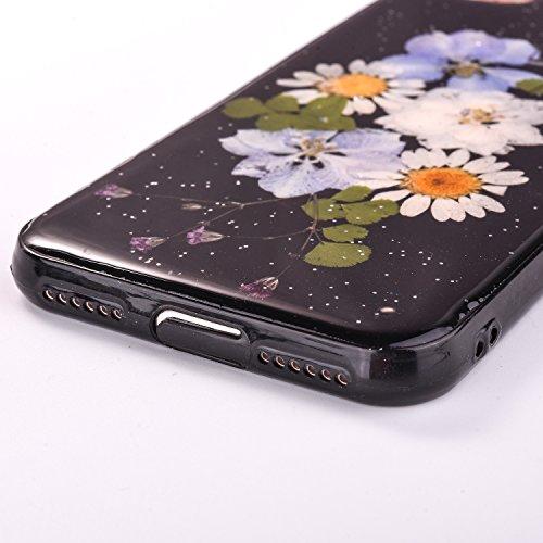 Elegante e Leggera Custodia per Apple iPhone 7Plus 5.5(NON iPhone 7 4.7), CLTPY Nero Case in Pressed Reale Fiore Natura Bella Clear View Ultra Slim Morbida Gomma Gel, Particolari Fantasia Lusso per  Fiore 7