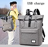 Hombres Mujeres External USB Charge Mochila Mochila para computadora portátil Travel Canvas ...
