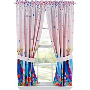Disney Frozen Breeze Into Spring Window Panels Drapes Curtains, Pink