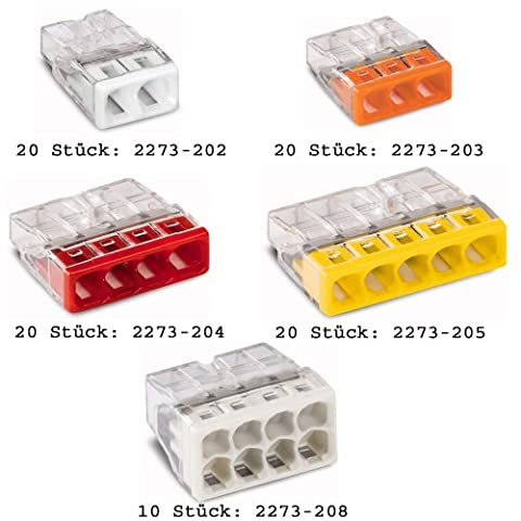 Digisky-Set: WAGO-Klemmen Sortiment 110 Stück gemischt (20 x 2273-202, 20 x 2273-203, 20 x 2273-204, 20 x 2273-205, 10 x 2273-208, 10 x 224-101, 10 x