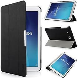 iHarbort® Samsung Galaxy Tab E 9.6 Coque Étui Housse - Ultra Slim étui Housse Cuir Coque avec Support pour Samsung Galaxy Tab E 9.6 pouce T560 T565 Cover Case housse Pochette Stand (Galaxy Tab E 9.6, noir)