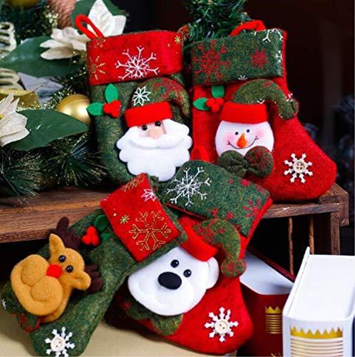 Good sister natale calze regalo caramelle regali da appendere ornamenti decorazioni per albero di natale, 4 pcs