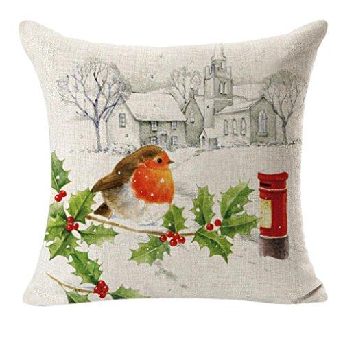 Cuscino di Natale-kingwo letto Home decorazione Festival federa Cuscino Cover, Multicolore, Cotone e lino, White, 45 cm*45 cm