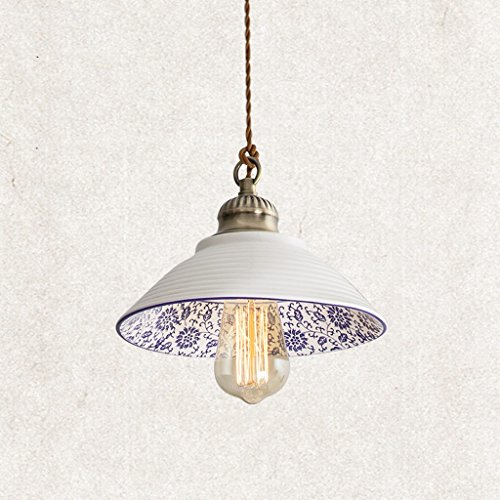 Lustres en porcelaine bleue et blanche rétro personnalité restaurant vêtements magasin chambre décorative éclairage E27 Rollsnownow (taille : B)