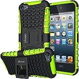 ykooe Handyhülle für iPod Touch 5 Hülle, (TPU Series) Silikon Stoßfest Touch 6 Schutzhülle Ständer Armor Drop Resistance Schutz Hülle für Apple iPod Touch 5G 6G (Grün)