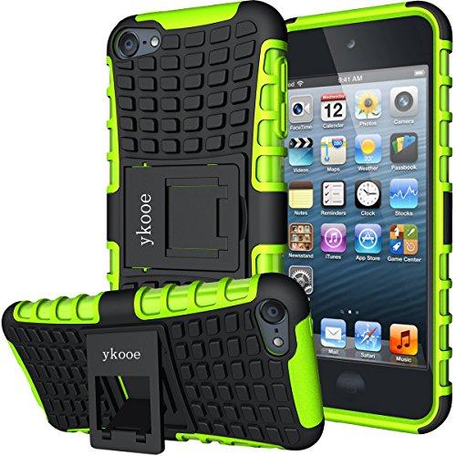 ykooe iPod Touch Hülle für Apple iPod Touch 5/6/ 7 Hülle, (TPU Series) Silikon Stoßfest Touch 6 Schutzhülle Ständer Armor Drop Resistance Schutz Hülle für Apple iPod Touch 5G 6G 7G (Grün) Video Ipod Cover