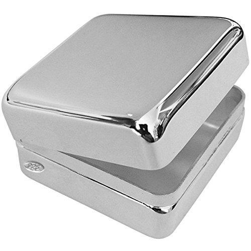 Silber 925 Dose 3x3x1,8 cm Quadrat mit Scharnierdeckel. Als Pillendose, Zahndose oder Haardose verwendbar