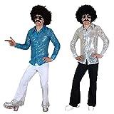 70s 80s Männer Abendkleid Hemd & Fackeln Anzug Outfit für DISCO Nächte (Männer: Medium, blaues Hemd und Weiß Flares)