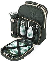 Greenfield Collection BP2DGH - Mochila de picnic para dos personas, color verde bosque