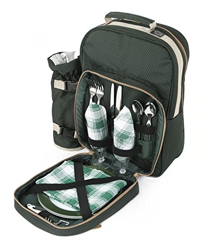 Greenfield Collection Luxury Forest Green Picnic Backpack Hamper for Two People