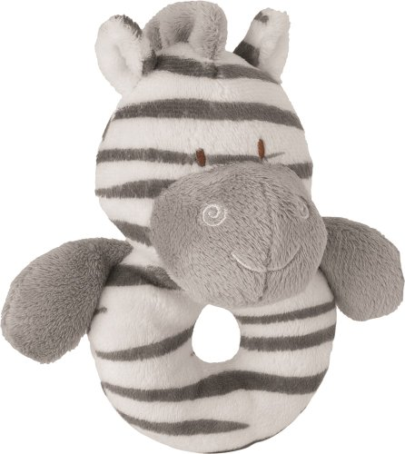 Suki Baby Zooma Soft Boa Plush Babys Ring Rattle with Embroidered Accents (Zebra)