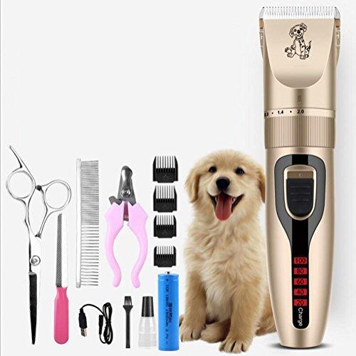 Zhigan pet grooming clippers kit, rasoio elettrico senza fili ricaricabile a basso rumore per capelli per cani con forbici per unghie, lima per unghie, guardie,a