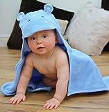 Bathing Bunnies Serviette de bain pour bébé avec capuche hippopotame Bleu ciel