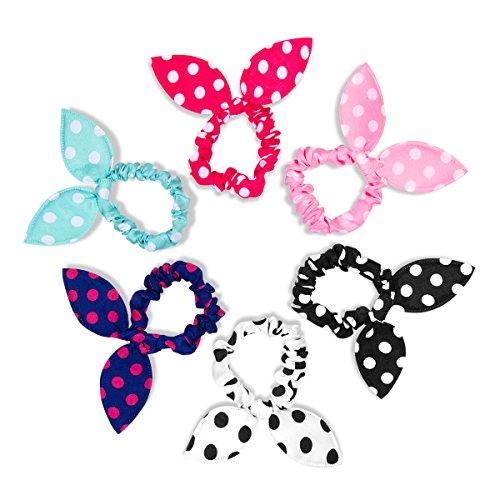 HABI 6 pcs gepunktet mehrfarbig Haarspange Fliege Schleife für Mädchen