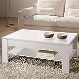Table basse relevable Oralia blanc, Dim L 110 x P 60 x H 42 à 55 cm -PEGANE-