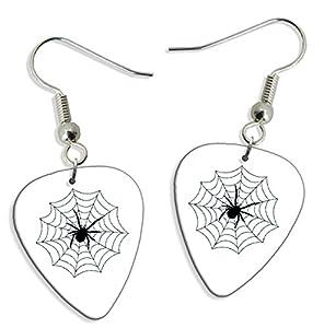 web barata: Spider Web 2 X Guitarra Pick Earrings Pendientes (GD)