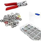 Trimming Shop - Lot 120 œillets / boutons-pressions / anneaux-rivets à pointe 9,5 mm + pince