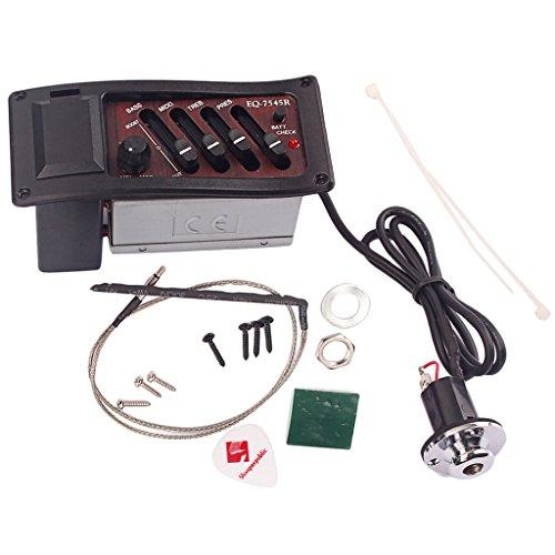 MagiDeal 4 Band Akustikgitarre Vorverstärker Verstärker EQ 7545R Akustikgitarrenverstärker mit Pickup