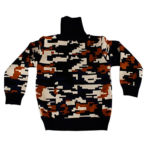 Tinee Unisex Multi-Colored Warm lining Printed fashionable foldable Turtle neck kids Sweater- Suitable for kids under 4 years (black matrix, 3 years)