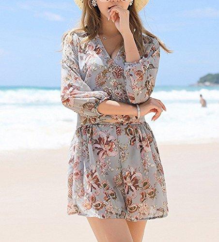 785b0d147 HOMEE Traje de baño Beach Skirt - Traje de baño para Mujer Small Chest  Recoge Falda Bikini Traje de baño de Tres Piezas para SPA