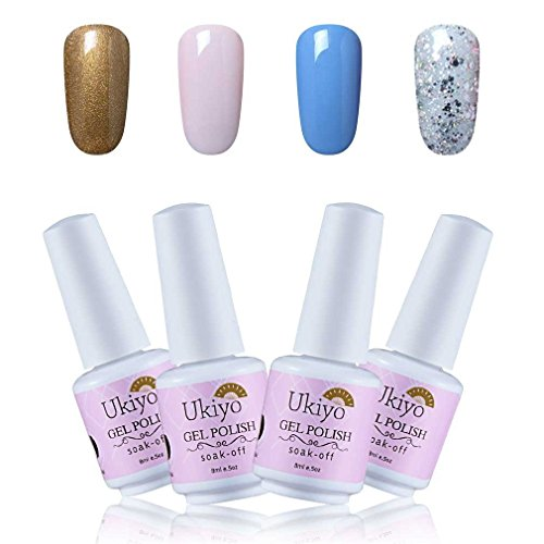 Ukiyo 4pcs nagellack set uv lampe rot Gel Nagellack Farbe Set Soak Off Gel Nail Lack Nail Art Maniküre 8ml