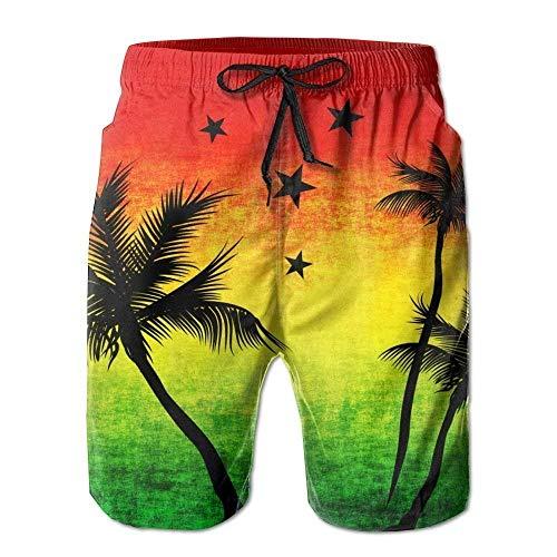 Trsdshorts Jamaica Rasta Palm Tree Men's Summer Swim Trunks-M - Palm Tree Swim Trunks