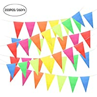 Unomor 80Meters Bunting Flags Multicolor Outdoor Bunting Party Bunting Party Banner Double Sided Halloween Thanksgiving Christmas Party Indoor/Outdoor Decoration (260Feet/200PCS)