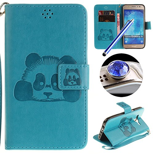 Etsue Custodia Per Samsung Galaxy J5 2015 in Pelle,Sollievo Colorate Dipinto Modello Ultra Sottile Leather Pu Bianca Flip Wallet Case Cover,Morbida Flessible Slim Portafoglio Libro AntiGraffio Protett Panda/Blu