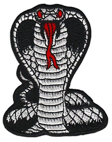 Cobra Schwarz Schlange Klein Bügelbild Aufnäher Klein Schlange