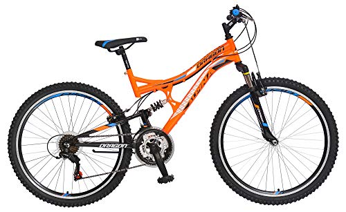 breluxx® 26 Zoll Mountainbike Kinderfahrrad Vollfederung Dragon Sport orange, 18 Gang Shimano - Modell 2019 -