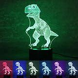 oulii Nacht 3D Lampe Visuelle Lichteffekt 7Farben Veränderungen, Weihnachtsgeschenk (Dinosaurier)