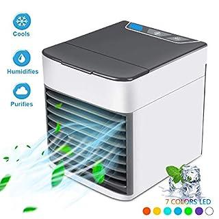 Personal Space Air Cooler,USB Luftkühler 3 in 1 Tragbare Arctic Mini Air Klimaanlage Luftbefeuchter und Luftreiniger mit 3 Geschwindigkeiten 7 Farben LED-Nachtlicht