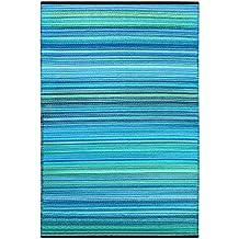 """Green Decore """"Weaver"""" Alfombra Ecológica para Interiores y Exteriores de Plástico Reciclado - Ligera y Reversible - Indoor / Outdoor, 90 x 150 cm, Azules / Tonos Verdes"""