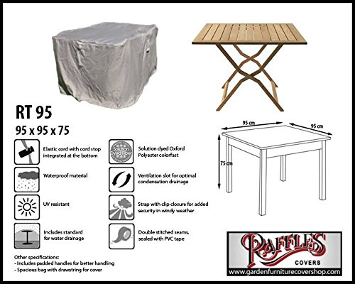 Raffles Covers RT95 Schutzhülle für quadratischen Tisch 95 x 95 H: 75 cm Schutzhülle für rechteckigen Gartentisch, Abdeckhaube für Gartentisch, Gartenmöbel Abdeckung