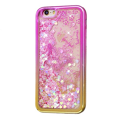 Coque pour iPhone 6 Plus, LANDEE Transparente Liquide Paillette Brillante Plastique Arrière Protecteur Dur Etui Housse de Protection Étui Coque Strass Case Cover pour iPhone 6 Plus(iphone 6 Plus-HXLS- iphone 6 Plus-HXLS-07