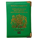 UK and European Passport Holder Protector Cover Wallet PU Leather United Kingdom (Green)