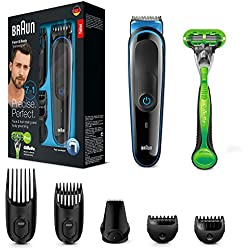 Braun MGK3042 7 En 1 -Recortadora todo en uno: para barba y cortapelos, para pequeños detalles, cuchillas afiladas de larga duración, incluye maquinilla Gillette Body, negro/azul