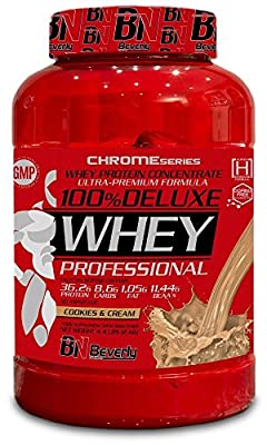Beverly Nutrition Exclusive For ABSat40 100% Whey Deluxe - high quality Whey protein powder - with the presence of fat and carbohydrates- Cookies and cream Flavor - 2kg by Beverly Nutrition by ABSat40