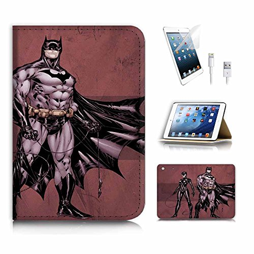 (für iPad Mini 123, Generation 1/2/3) Flip Wallet Schutzhülle & Displayschutzfolie & Ladekabel Bundle. A4186Catwoman Batman