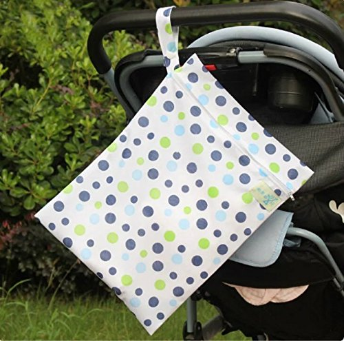 Baby Wasserdicht Reißverschluss Tasche waschbar wiederverwendbar Baby Tuch Windel Tasche w/Tiere und Blumen Muster Beige, 1pc blue dot, NO.1