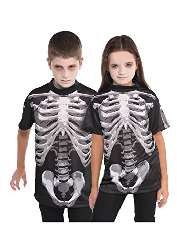 Ray Skelett Kind X Kostüm (Kinder Unisex T-Shirt Kochenaufdruck Bone Skelett Gr. 8-10 Jahre - Halloween)