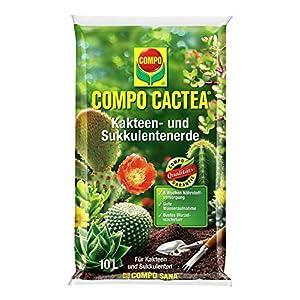 COMPO CACTEA Kakteen- und Sukkulentenerde mit 8 Wochen Dünger für alle Kakteenarten und dickblättrige Pflanzen, Kultursubstrat, 10 Liter