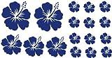 XL Design Set Y in Blau 17 Stück HIBISKUS Blumensticker Autoaufkleber Blumen oder Wandtattoo selbstklebende Aufkleber fürs Auto, Wandsticker Out- & Indoor, Wandbild & Fensterbild wählen Sie aus 32 Farben!