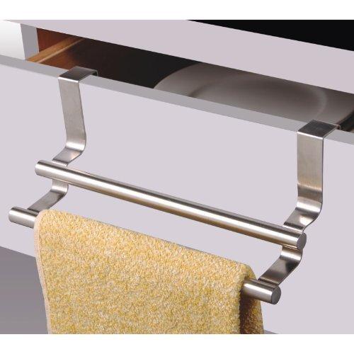 MSV Geschirrtuchhalter, Handtuchhalter Türhandtuchhalter Edelstahl zum Einhängen in die Schublade mit 2 Stufen