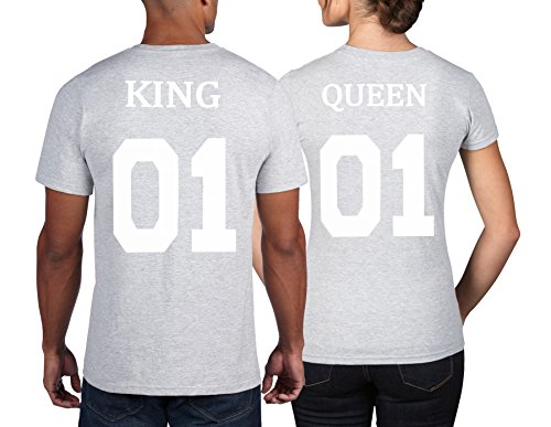 #Cold & Heartless Pärchen unifarbenes T-Shirt Set King Queen T-Shirts als Geschenk (Damen Gr M + Herren Gr M, Hellgrau)#