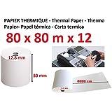 Universe Graphique - Rollo de papel térmico, 80 x 80 x 12 mm, Paquete De 50 - 48g/m2, 80 metros de longitud, 8 cm de anchura, diámetro interno 12,8 mm