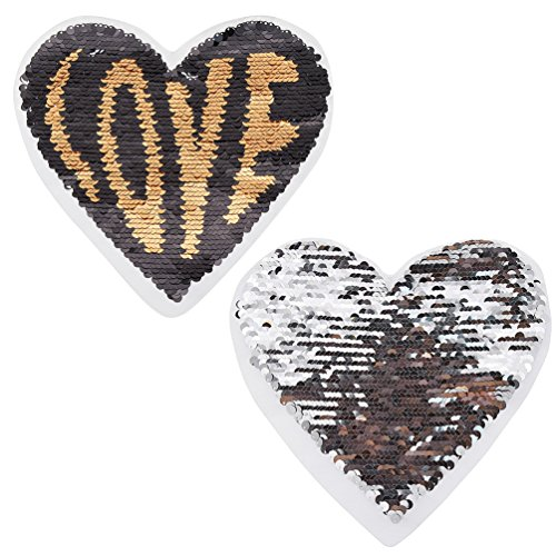 YNuth Aufnäher Herz Love You Paris Schwarz Golden Silber Pailletten Patch Dekor