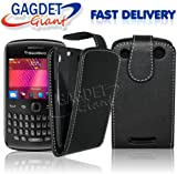 Gadget Giant Blackberry 9360 Curve - Black Supreme PU Leather Flip Case / Cover / Pouch - With Clip In Holder + FREE Screen Protector